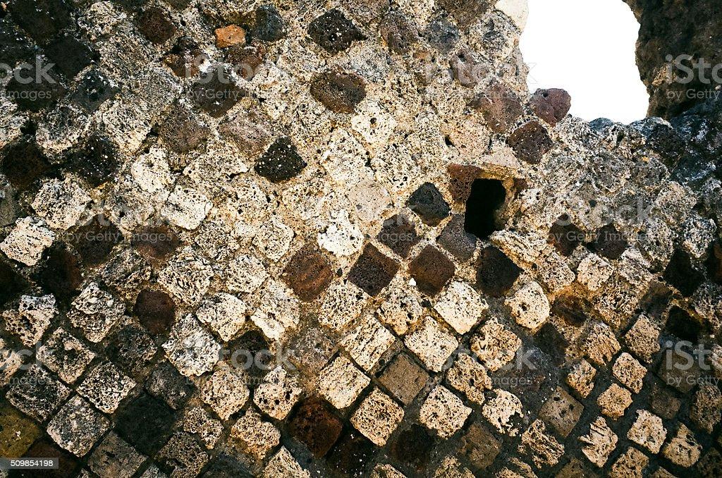 Pompeii opus reticulatum stock photo