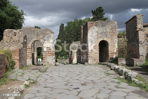 The ruins of the roman city of Pompeii are located near Naples, Italy.