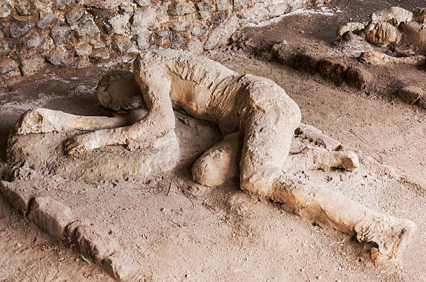 Pompeii victims covered in sand stock photo