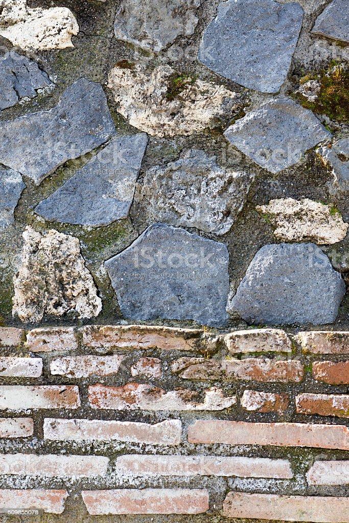 Pompeii wall detail stock photo