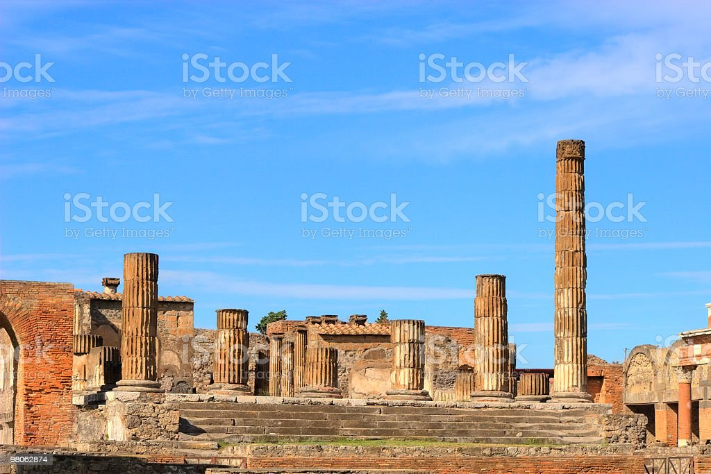 Pompeii with Vesuvius royalty-free stock photo