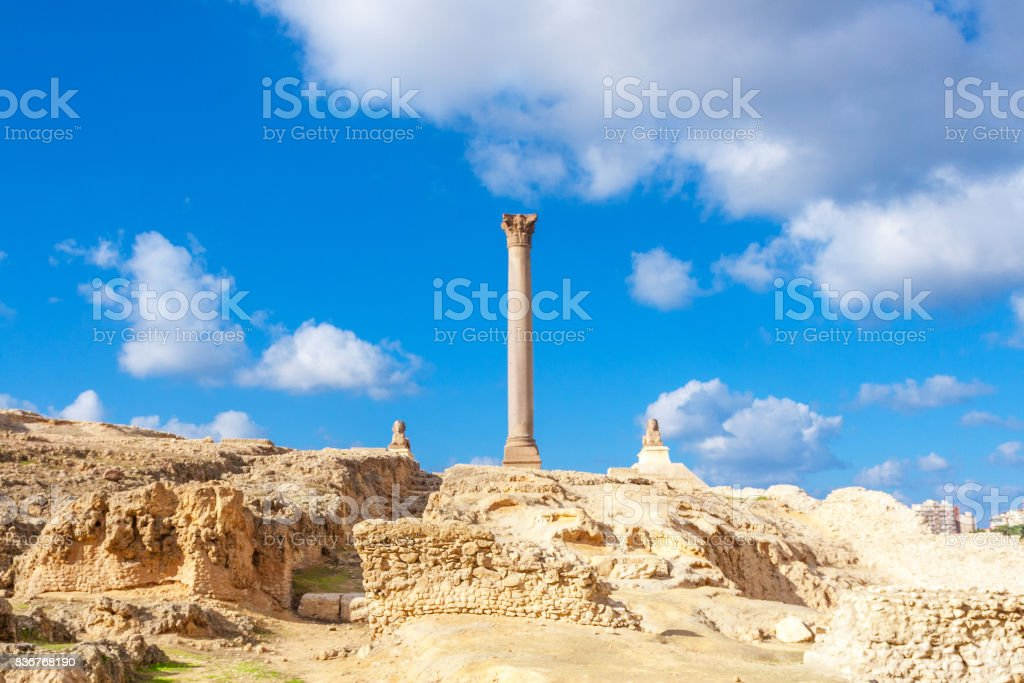 Pompey's pillar and ancient sphinx stock photo