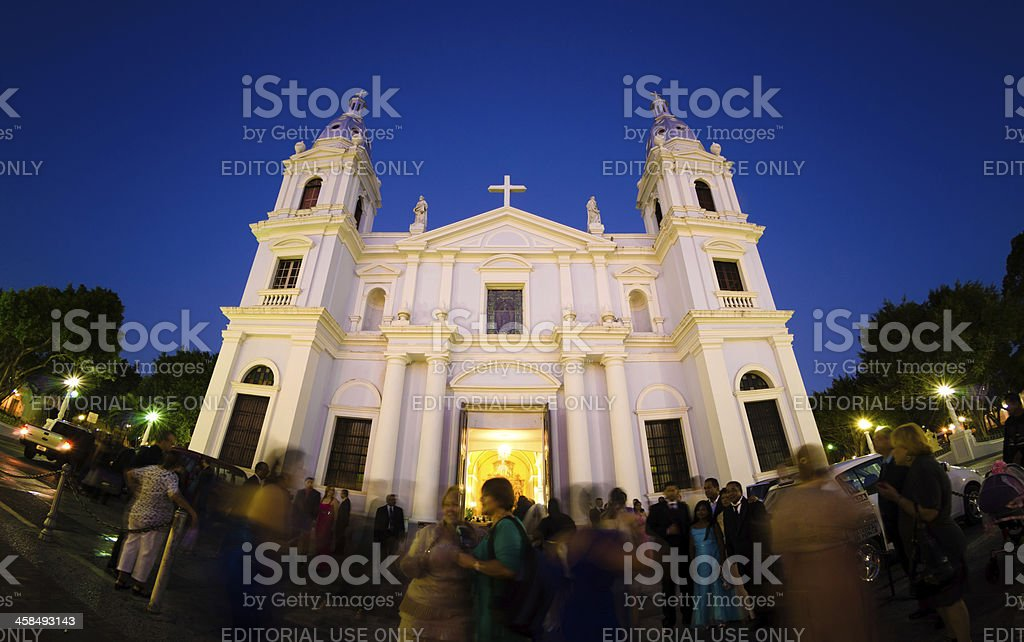Ponce Cathedral in Puerto Rico at night stock photo