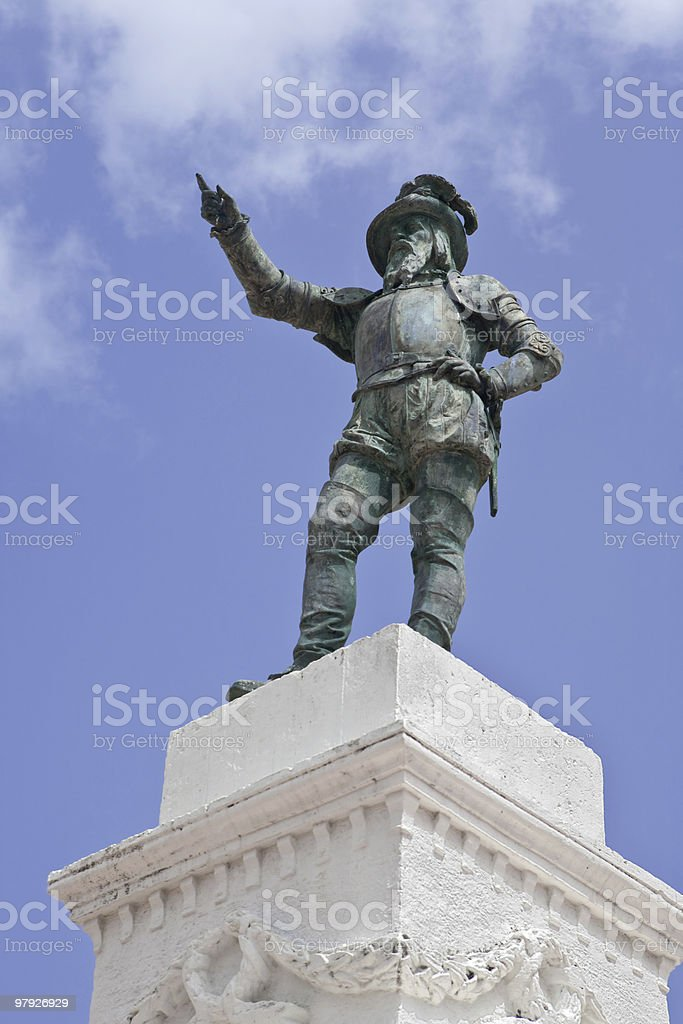 Ponce de Leon Statue, Old San Juan royalty-free stock photo