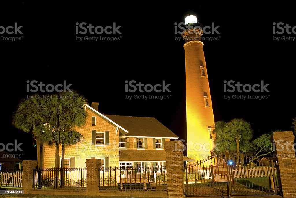 Ponce Inlet Lighthouse at dusk. stock photo
