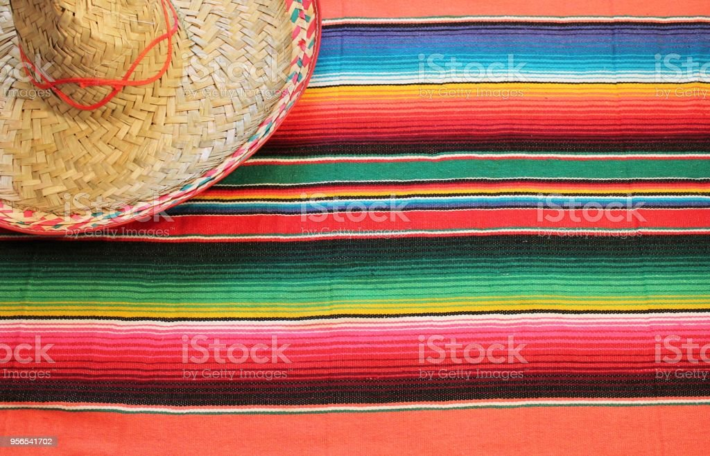 poncho sombrero background mexican mexico cinco de mayo fiesta copy space, stock photo