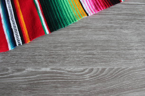 poncho mexican background wooden wood grain copy space for text serape fiesta culture theme - cinco de mayo party stock photos and pictures
