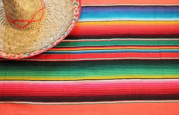 poncho sombrero background mexican mexico cinco de mayo fiesta copy space, - cinco de mayo stock photos and pictures