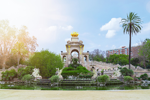 pond and fountain in Parc de la Ciutadella, Barcelona, Spain