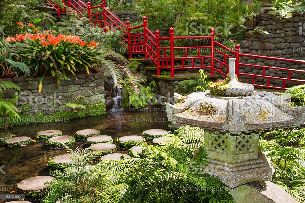 Pond and garden decoration in oriental style stock photo
