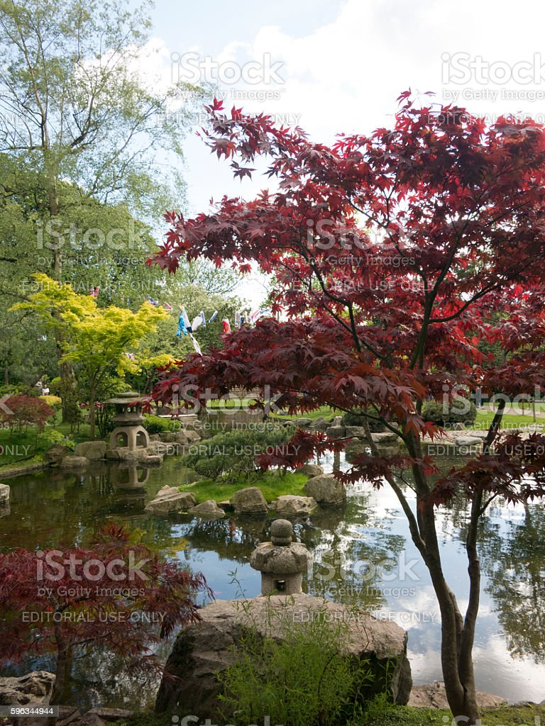 Pond and Stone Lantern in Kyoto Garden, Holland Park, London Lizenzfreies stock-foto