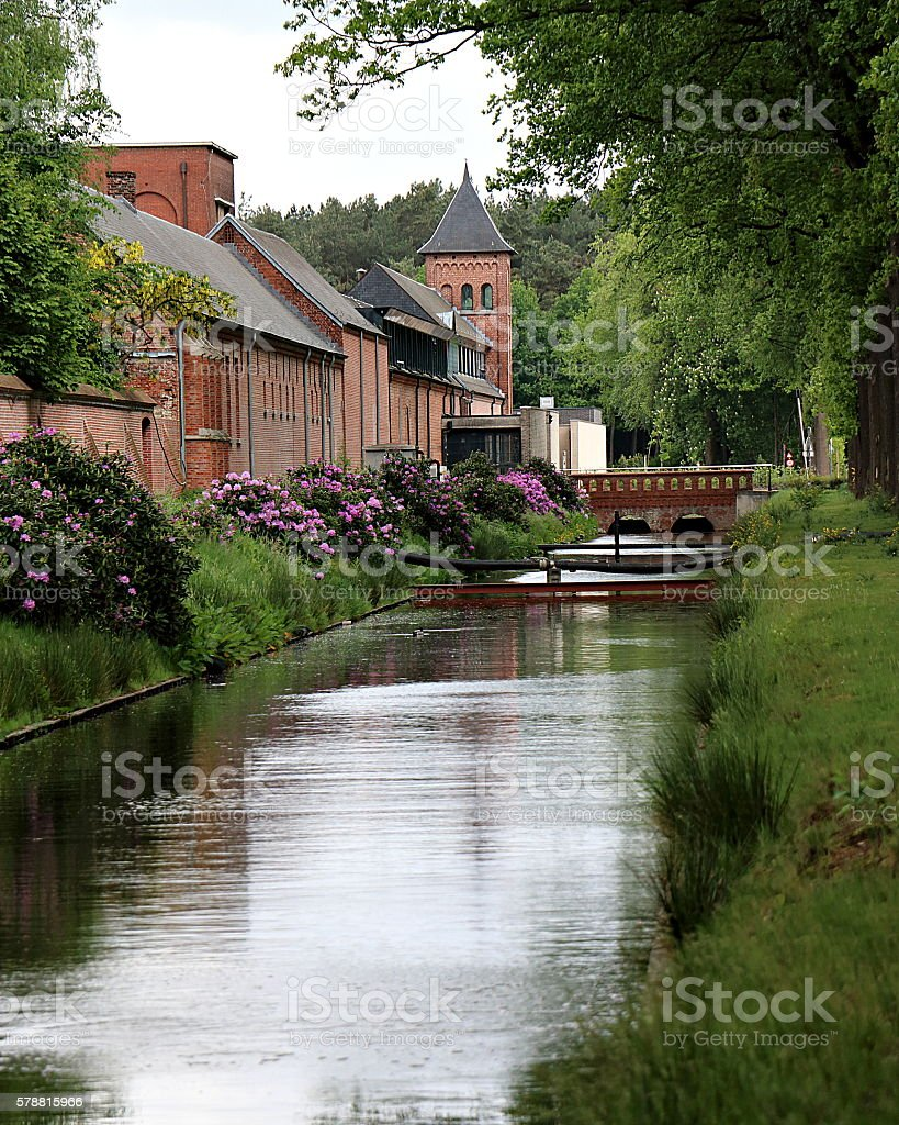 Pond at a Trappist Brewery in Westmalle, Belgium stock photo
