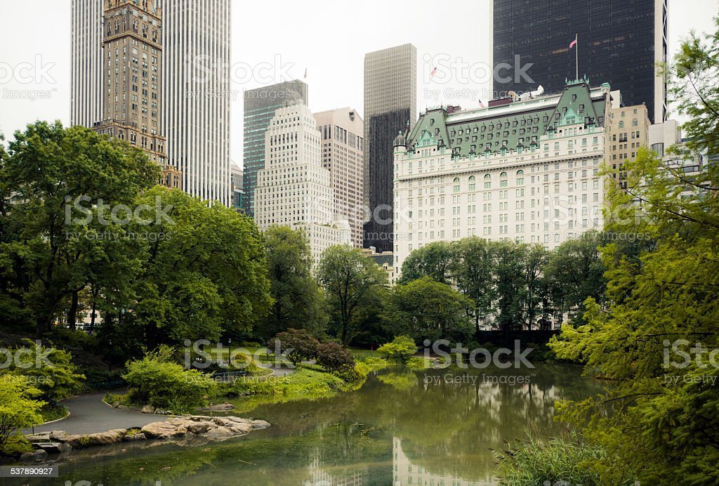 Pond at Central Park in New York City stock photo
