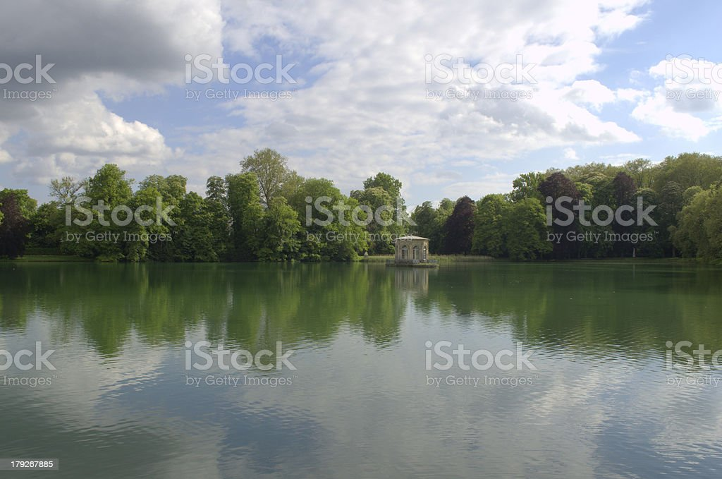 Pond by Fontainebleau Castle near Paris, France royalty-free stock photo