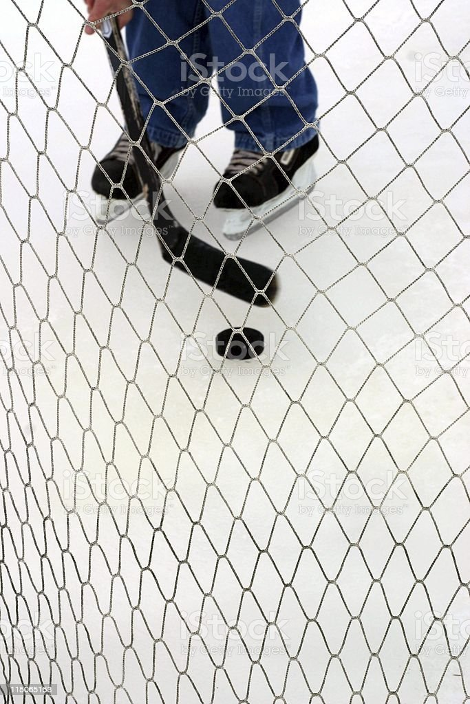 Pond Hockey; approaching the net royalty-free stock photo
