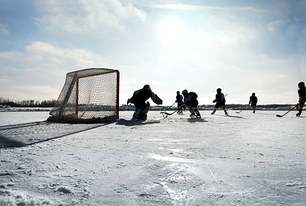 Pond Hockey stock photo