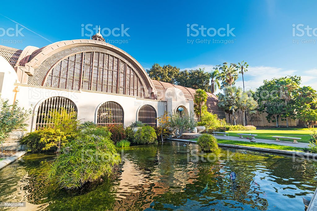 Pond in Balboa park in San Diego stock photo