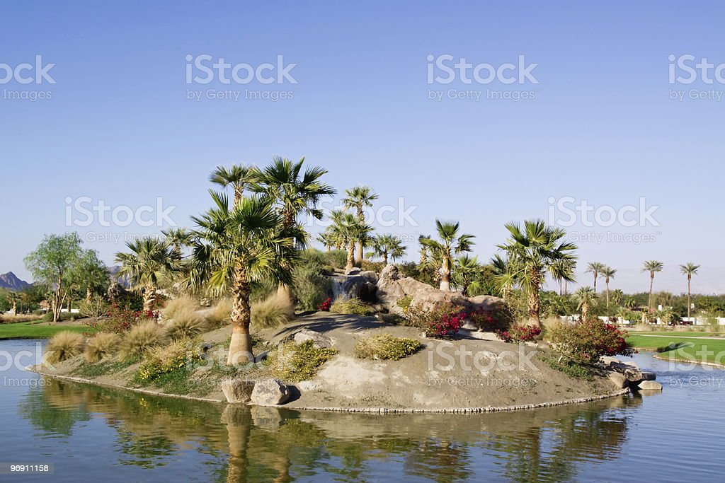 Pond in golf course royalty-free stock photo