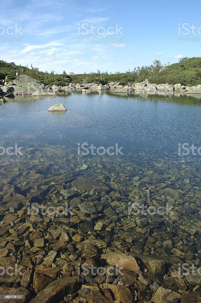 Pond in Karkonosze mountains stock photo