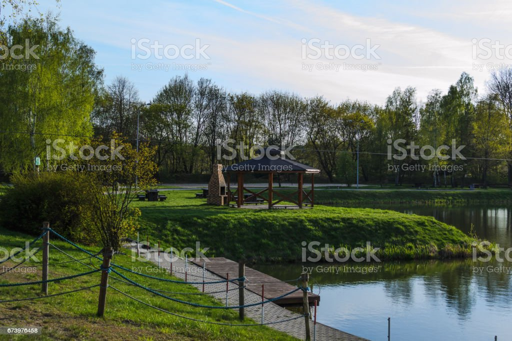 Pond in spring color royalty-free stock photo