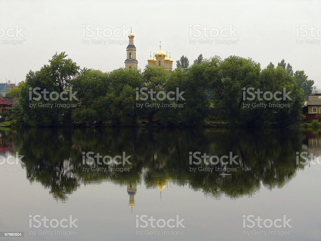 Pond in the center of city 'Kyshtym' royalty-free stock photo