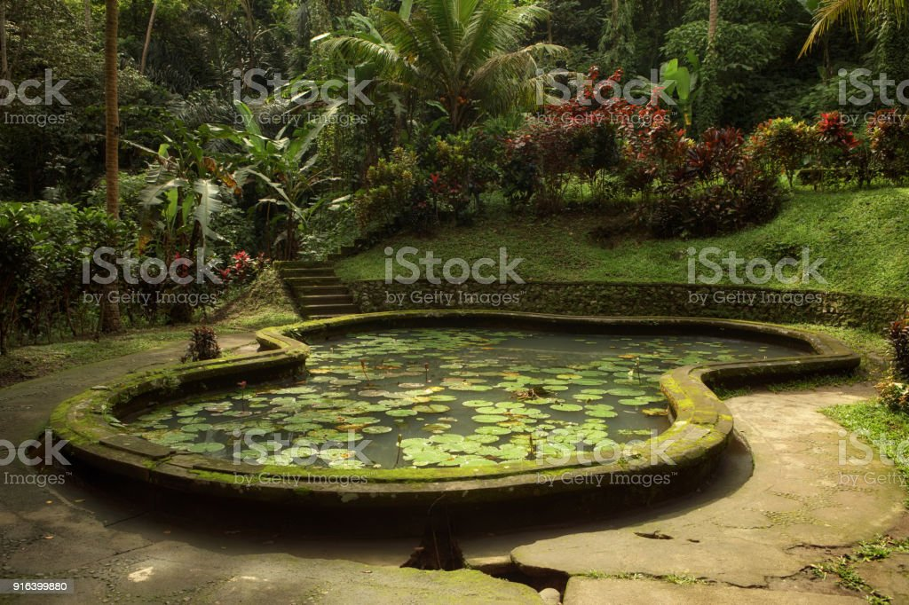 Pond In The Garden Of Goa Gajah Temple Bali Indonesia Stock Photo