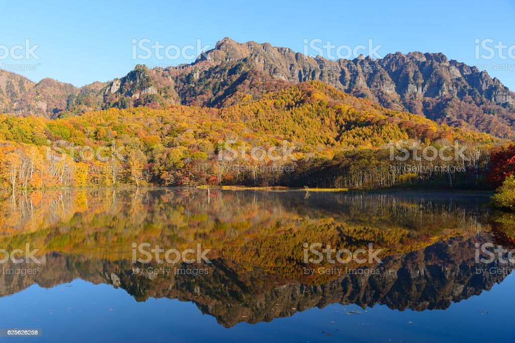 Pond in Togakushi in autumn stock photo