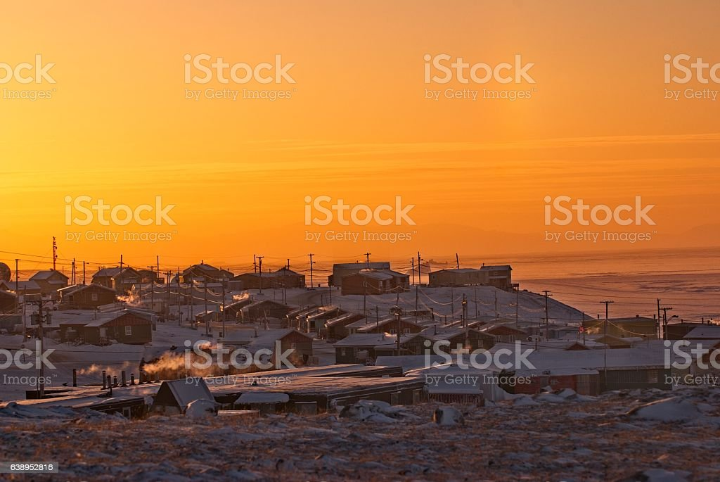 Pond Inlet, Nunavut, Canada, an Inuit community on Baffin Island. stock photo