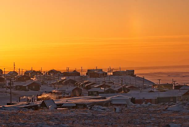 Pond Inlet, Nunavut, Canada, an Inuit community on Baffin Island. stock photo
