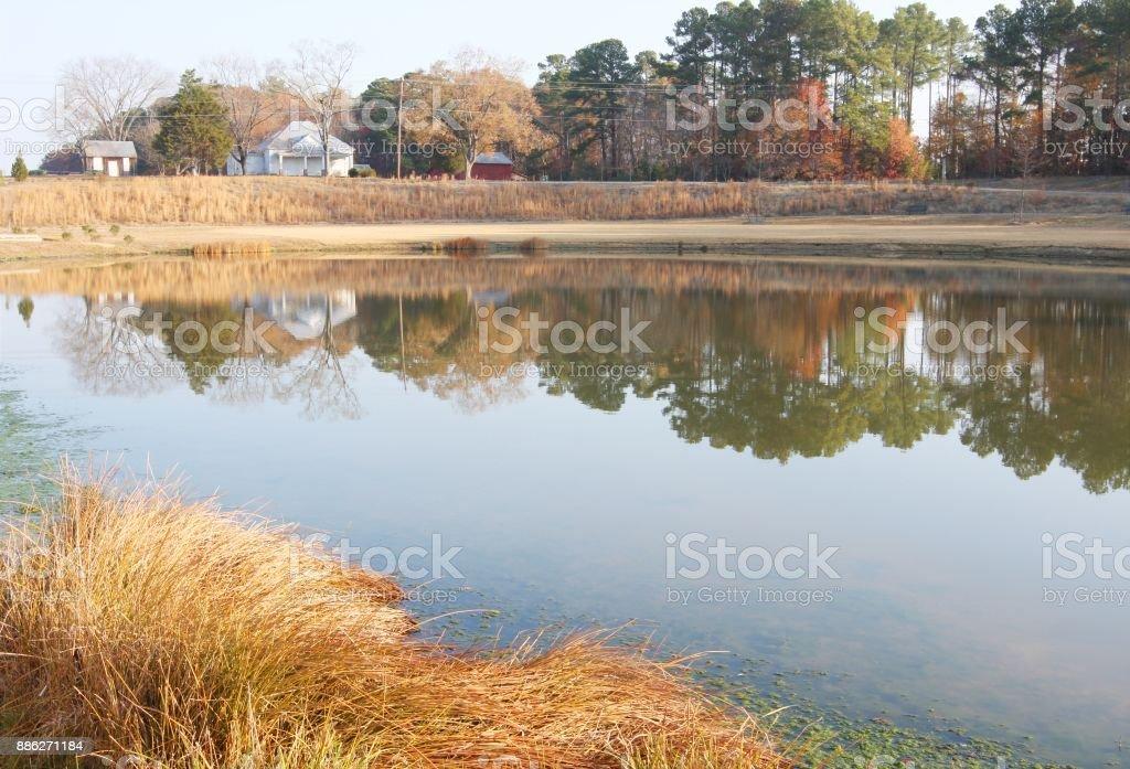 Pond of Carpenter park at Autumn, Cary, NC stock photo