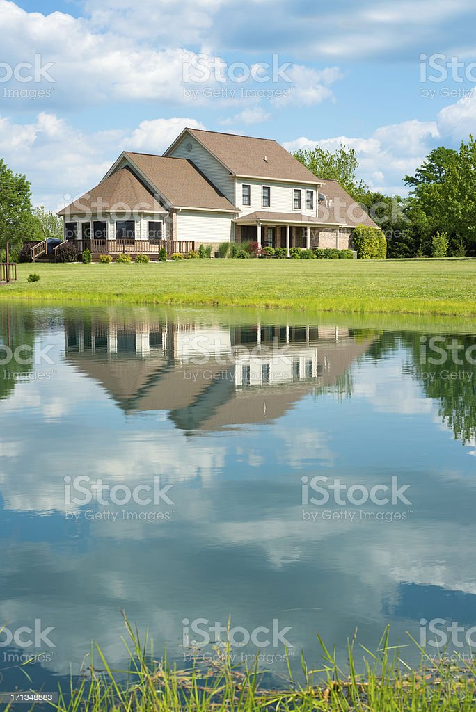 Pond Reflection of Home in the midwest stock photo