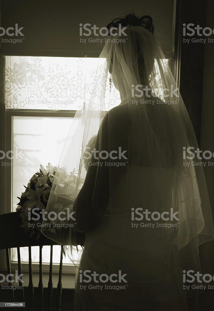 pondering bride royalty-free stock photo