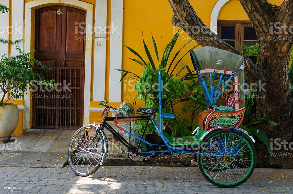Pondicherry by Rickshaw cycle stock photo