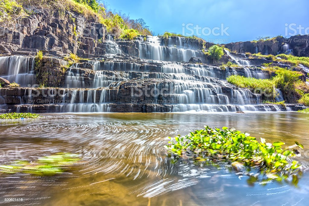 Pongour Waterfall in sunshine stock photo