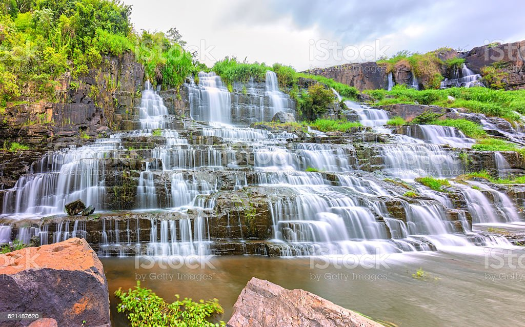 Pongour waterfall on summer days stock photo