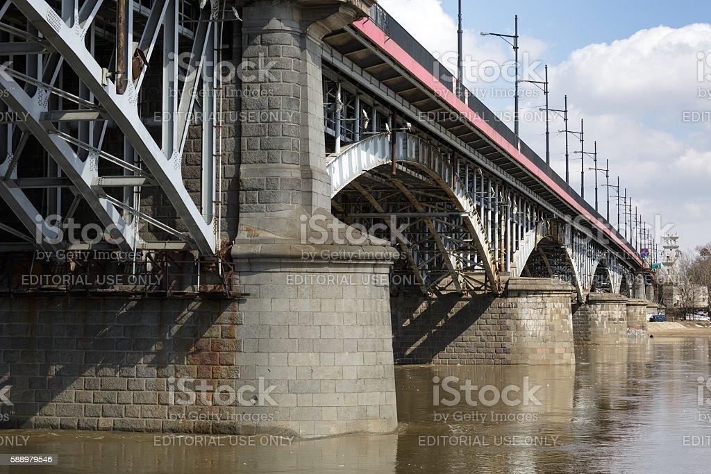 Poniatowski Bridge over the Vistula river in Warsaw stock photo
