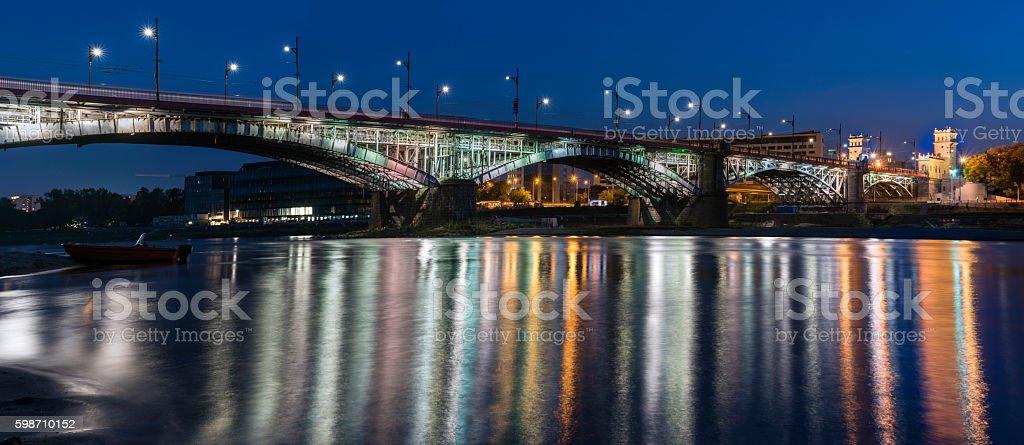 Poniatowski bridge over Vistula river  in Warsaw, Poland stock photo