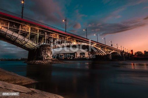 Long exposure photography of bridge in Warsaw, Poland