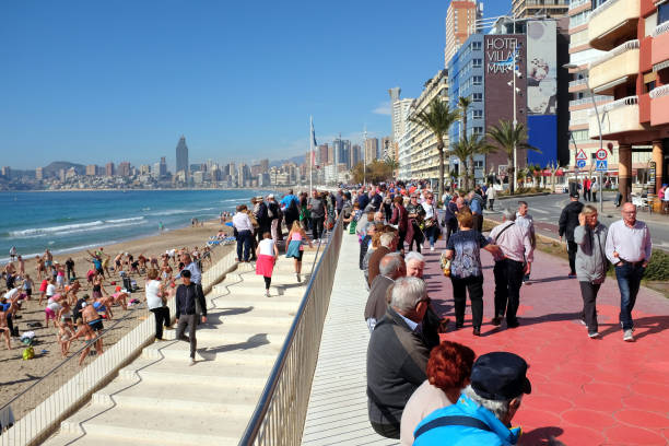 Poniente promenade, Benidorm, Spain. stock photo