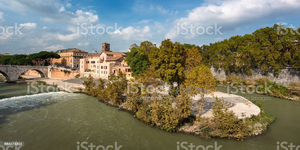 Ponorama of Tiber Island and Cestius Bridge, Rome, Italy stock photo