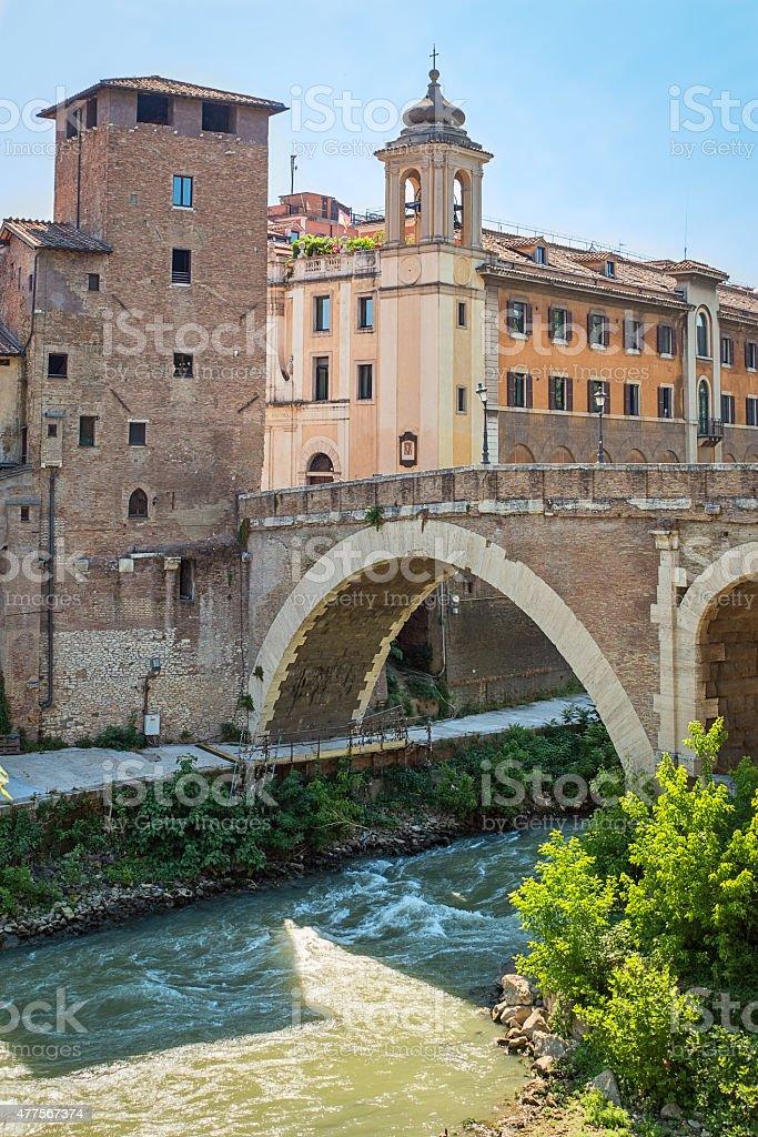 pons fabricius in rome stock photo