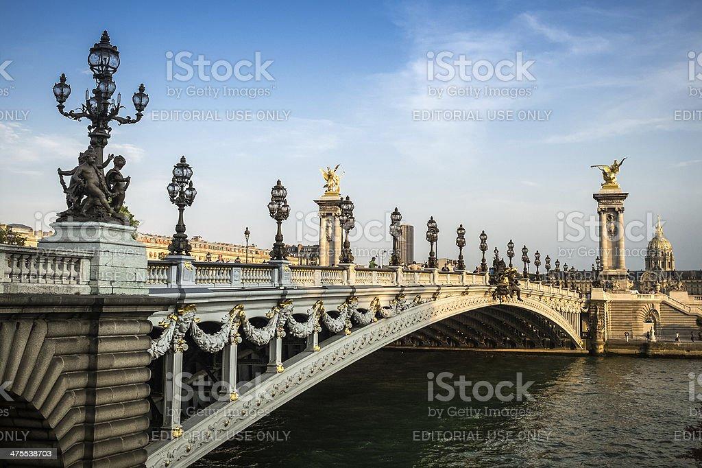 Pont Alexande III and Hôtel des Invalides stock photo