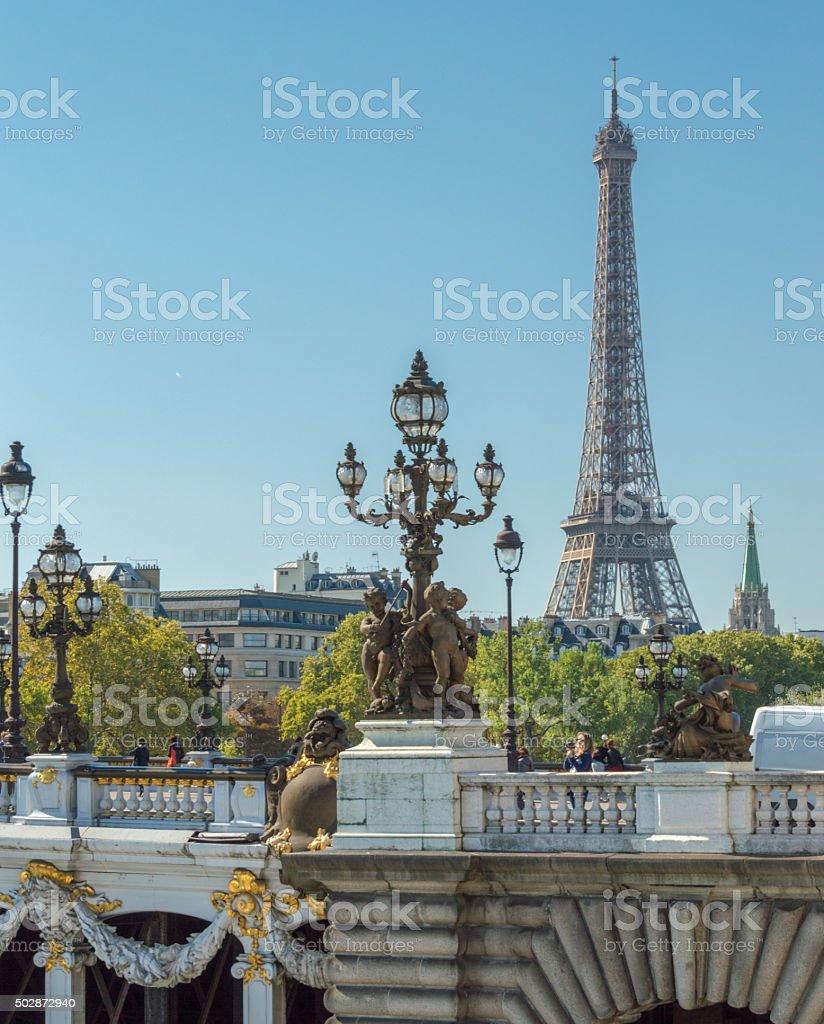 Pont Alexandre III anf Eiffel tower, Paris, France stock photo