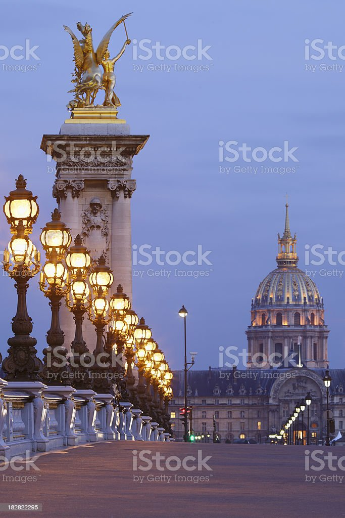 Pont Alexandre III at dusk royalty-free stock photo