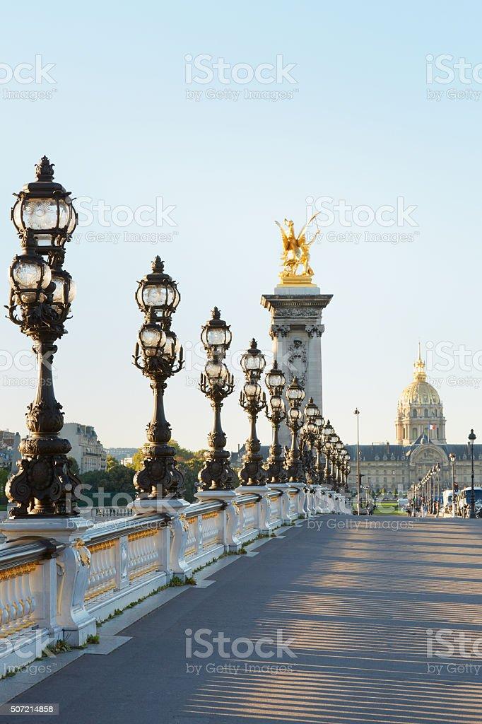 Pont Alexandre III bridge in Paris, empty stock photo