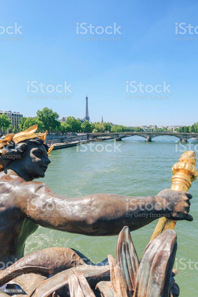 Pont Alexandre III bridge with Eiffel tower stock photo