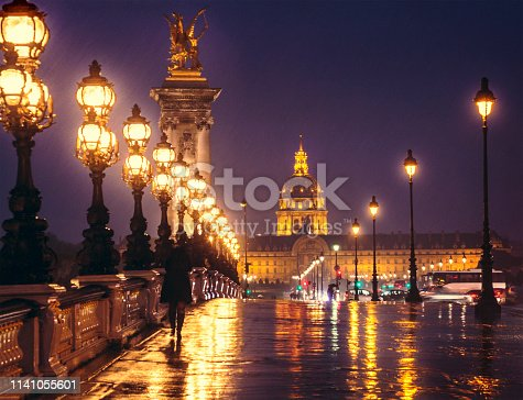 Pont Alexandre III by night, looking towards Les Invalides