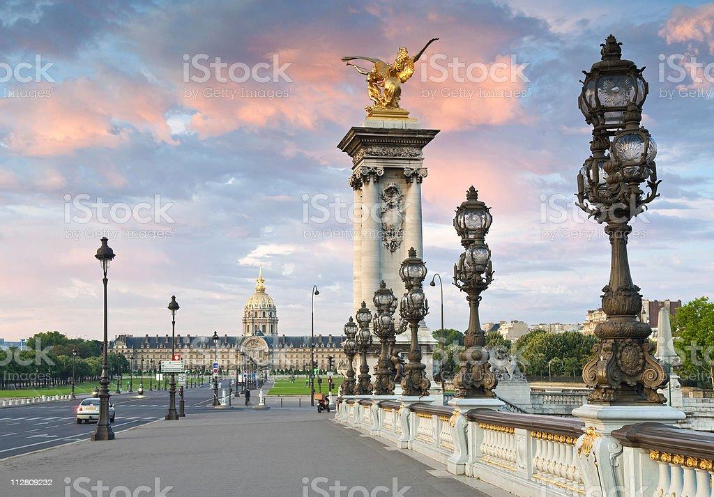 Pont Alexandre III & Hotel des Invalides, Paris stock photo