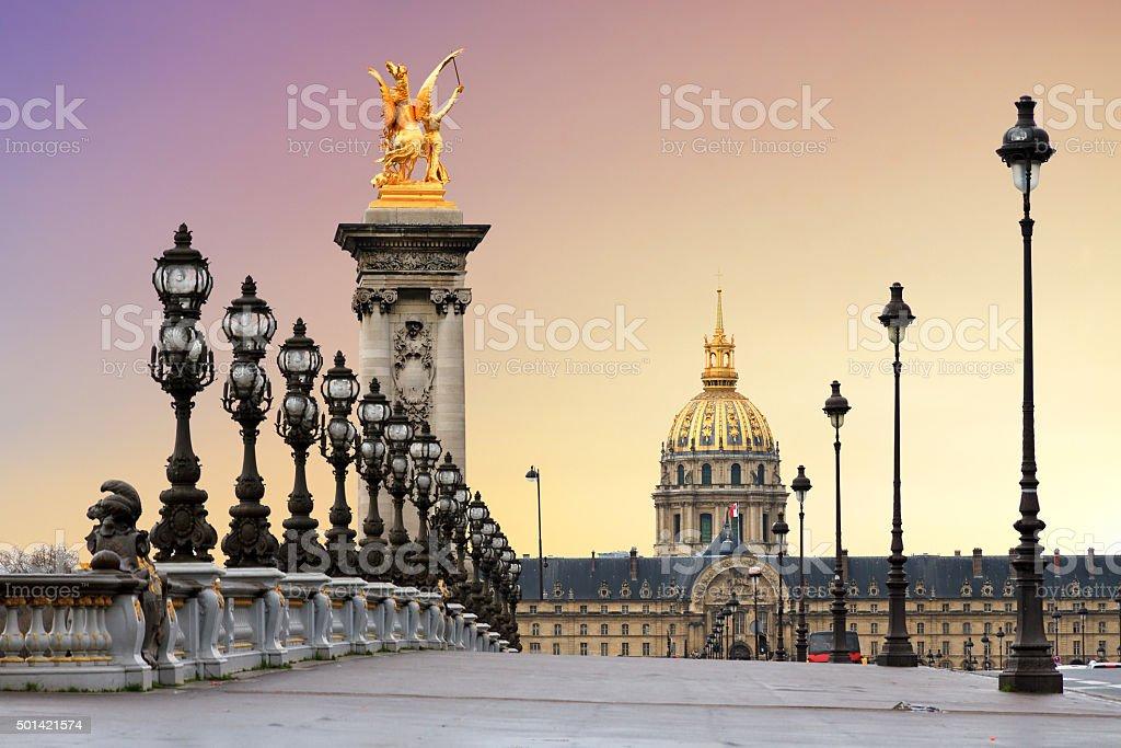 Pont Alexandre III sunrise stock photo