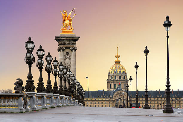 pont alexandre iii sunrise - paris france stock photos and pictures